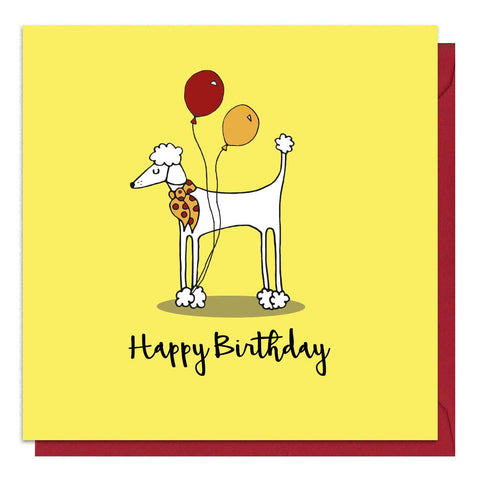 Yellow birthday card with an illustration of a poodle
