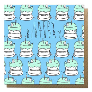Blue birthday cake card with brown envelope
