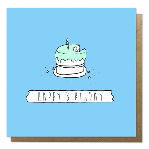 Blue birthday card with an illustration of a birthday cake