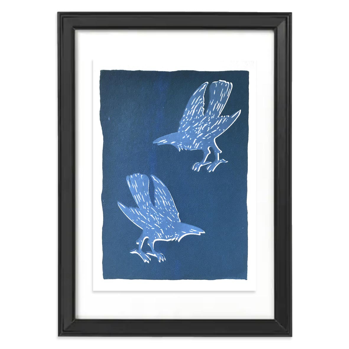 Blue screen print featuring two crows