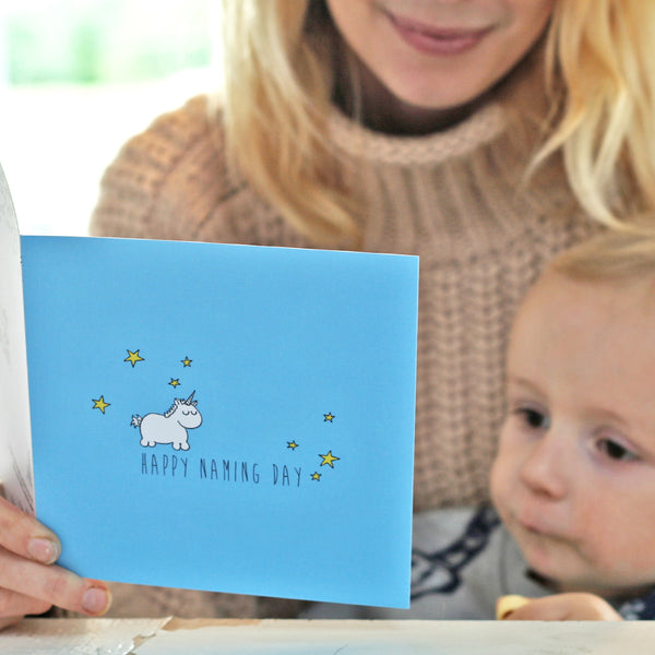 Lifestyle photo of naming day card