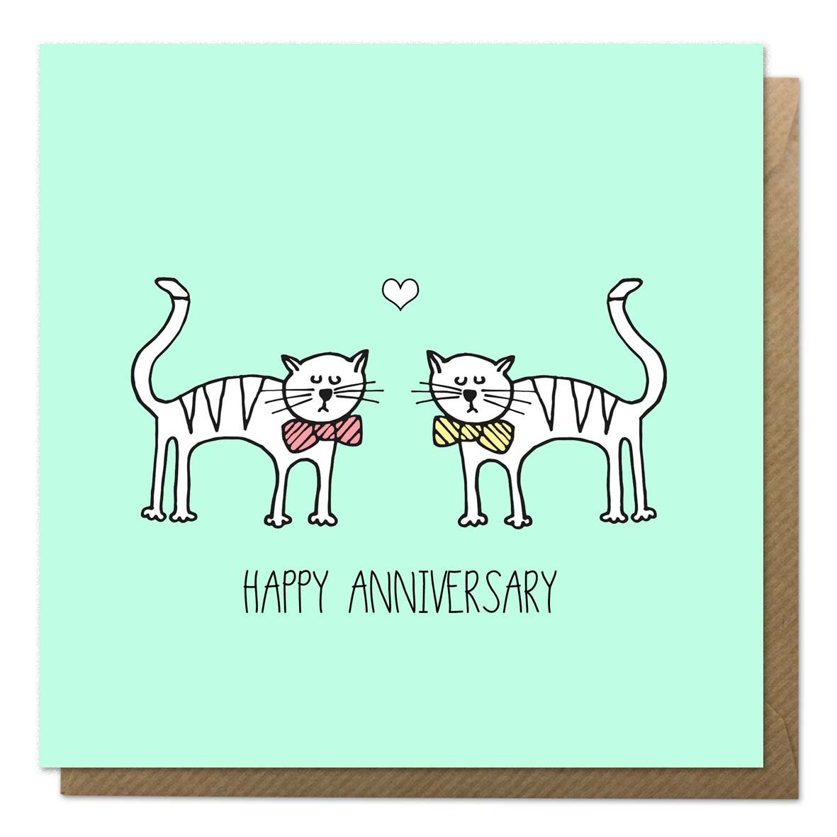 Green anniversary card with an illustration of two cats in bow ties