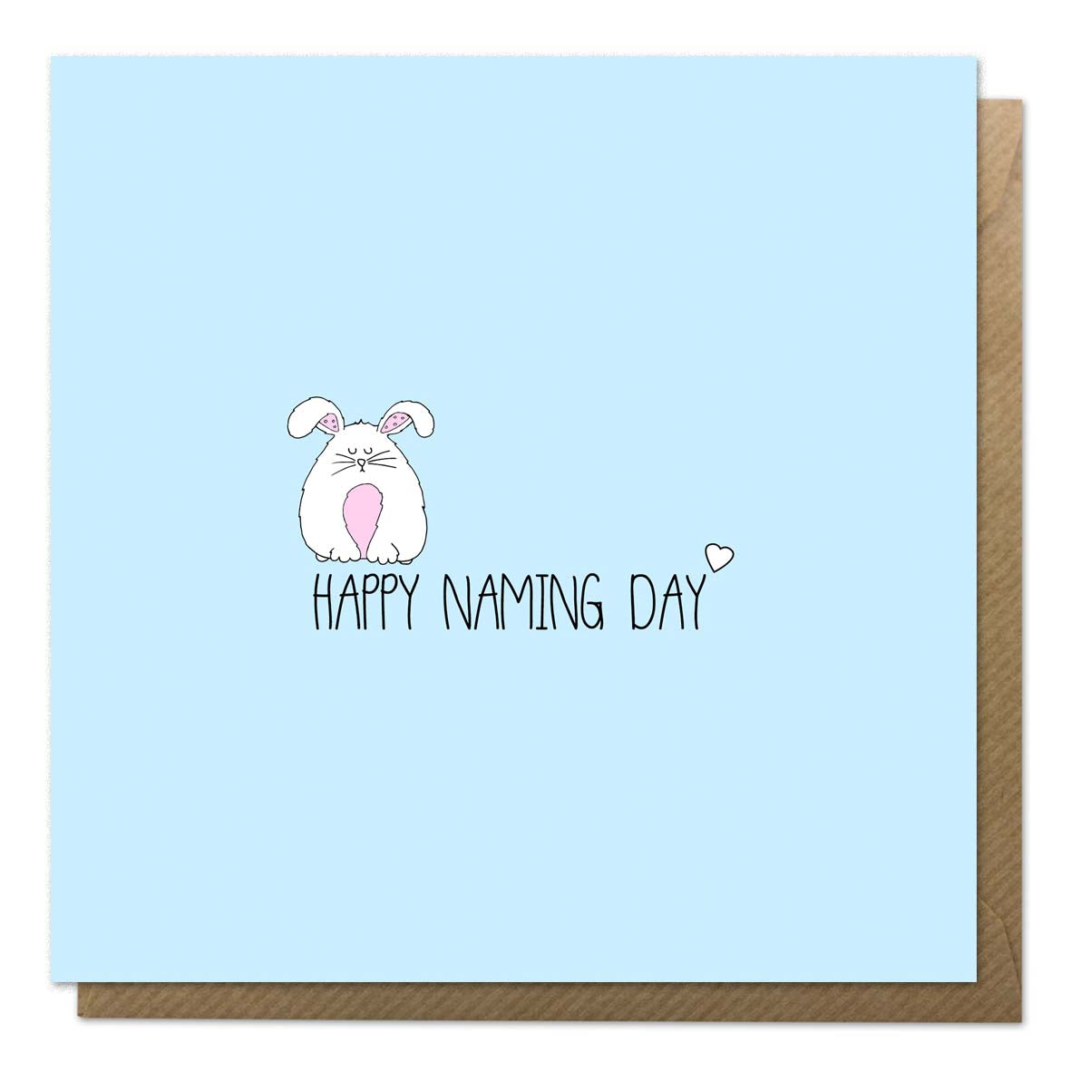 Blue naming day card featuring an illustration of a rabbit