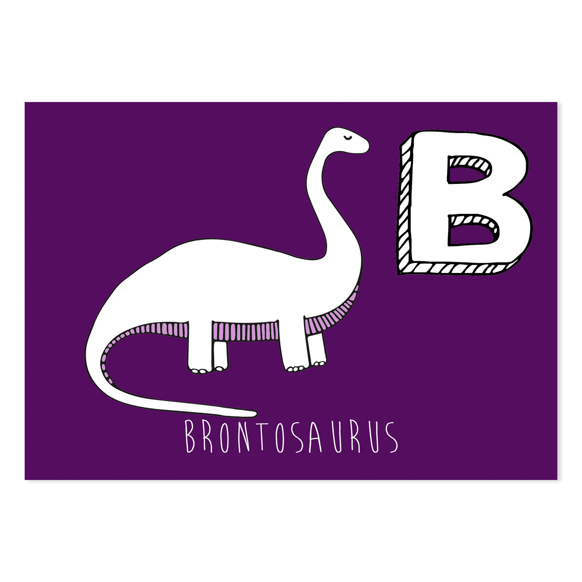 Purple postcard featuring the letter B for brontosaurus