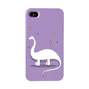 Purple dinosaur phone case with an illustration of a brontosaurus