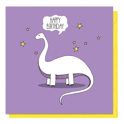 Purple card with an illustration of a brontosaurus