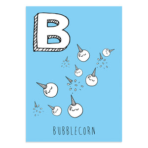 Unicorn postcard featuring B for bubblecorn