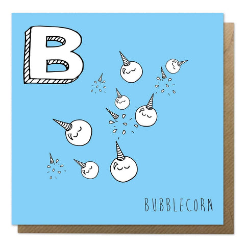 Blue greeting card featuring Bubblecorn, one of the alphabet unicorn