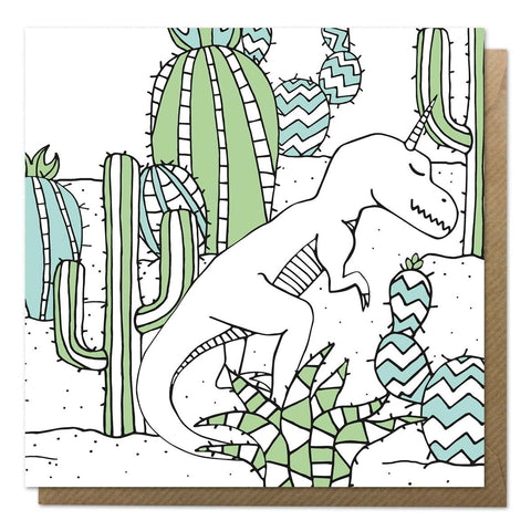 Greeting card with a dinosaur unicorn and cacti