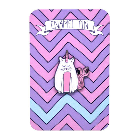 Cat unicorn enamel pin on a zig zag backing board