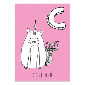 Unicorn postcard featuring C for caticorn