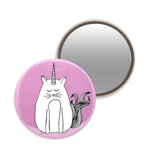 Pink unicorn cat makeup mirror. 7.6cm diameter