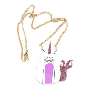 Pink, glittery unicorn cat acrylic necklace