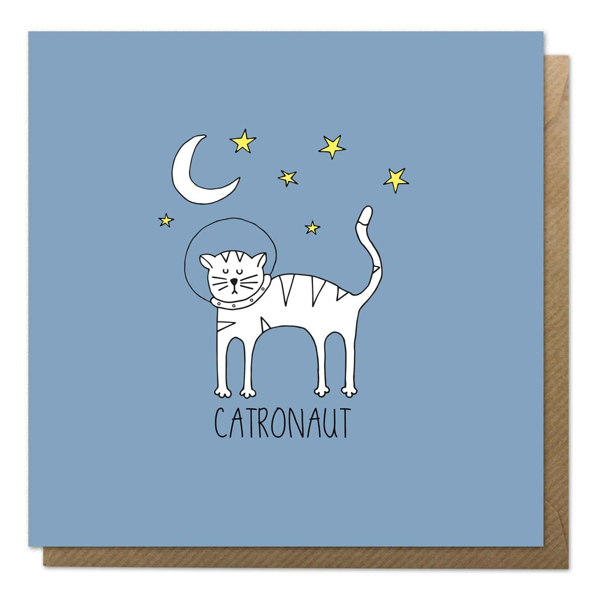 Blue greeting card with an illustration of a cat astronaut