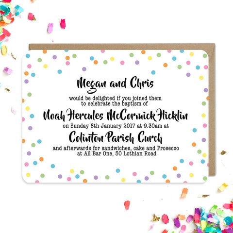 Colourful confetti invitations
