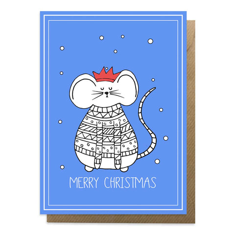 Blue Christmas card with a picture of a mouse wearing a Christmas jumper