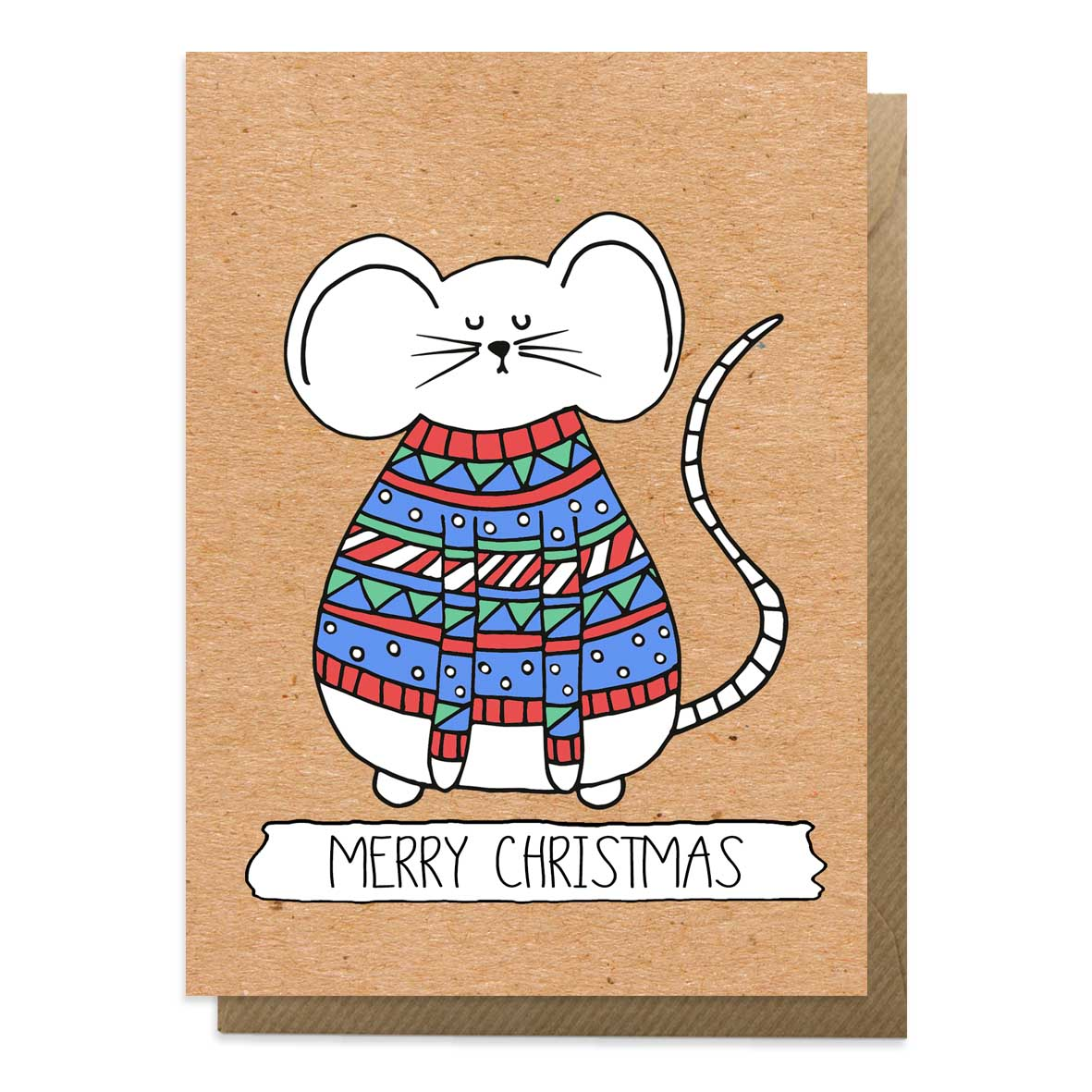 Christmas mouse card with an image of a mouse wearing a Christmas jumper