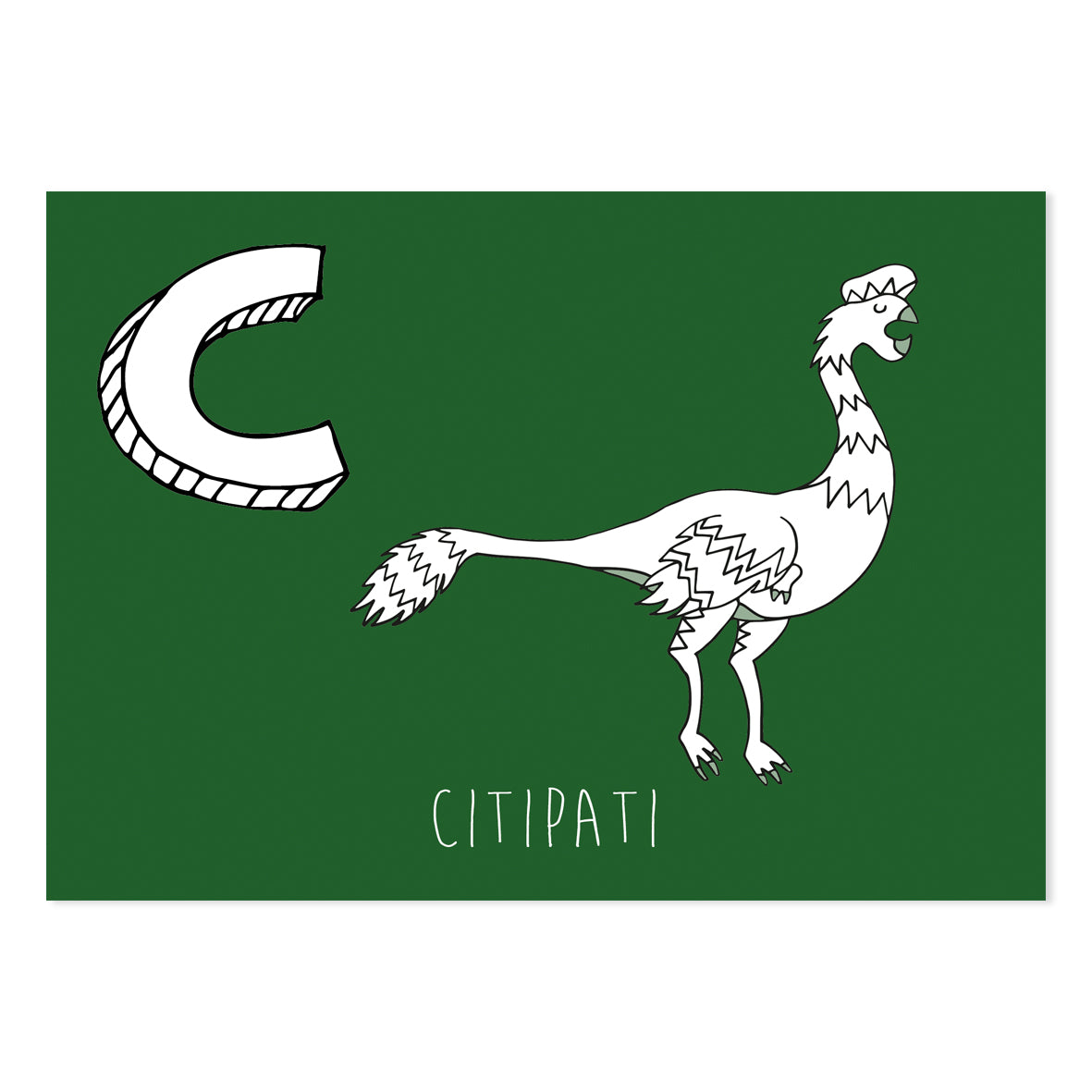 Green postcard featuring the letter C for citipati