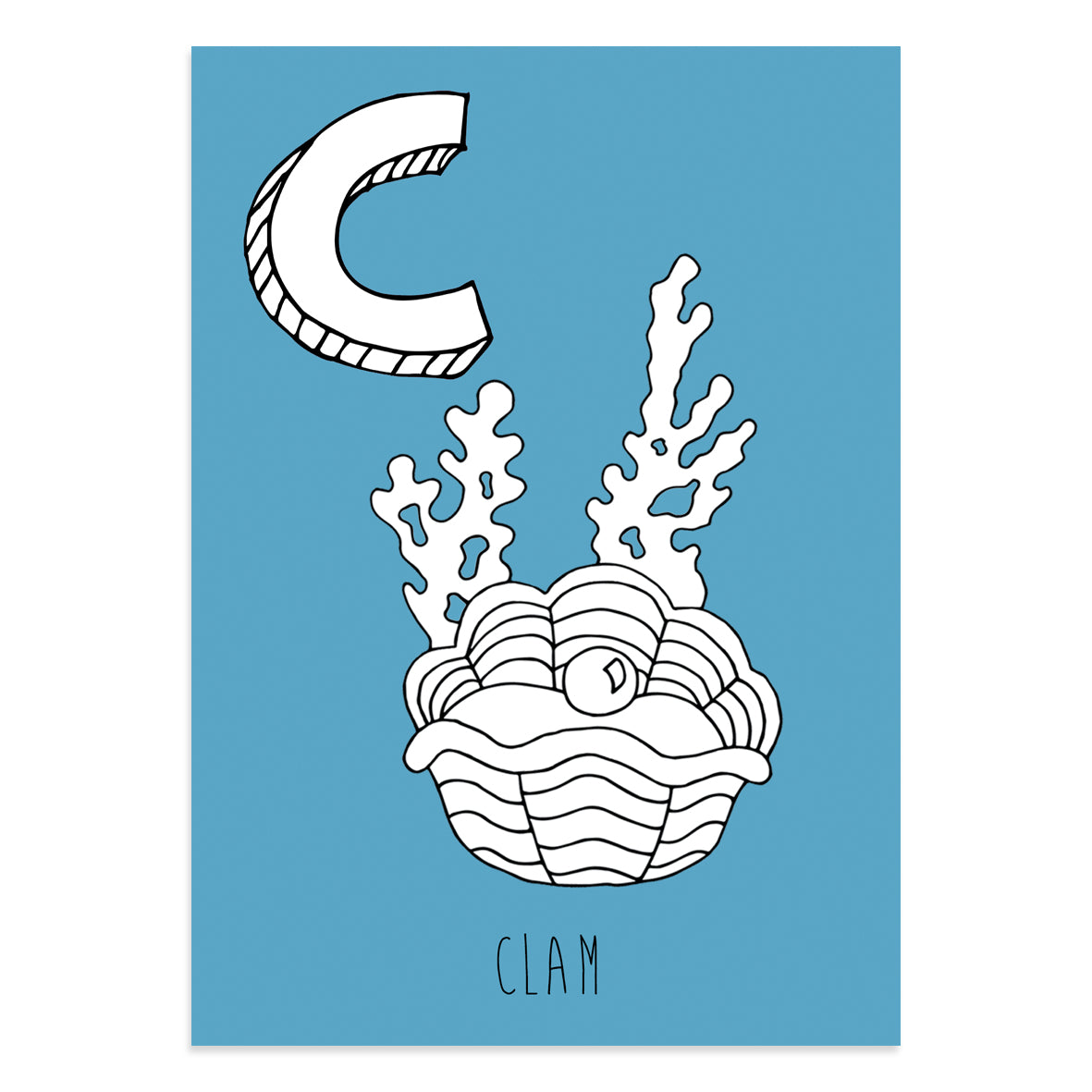 Blue postcard featuring the letter C for clam