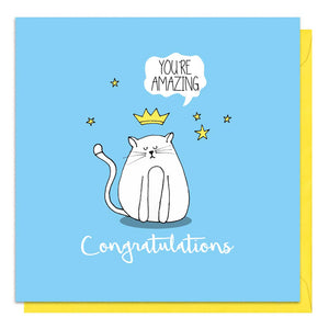 Blue congratulations card with an illustration of a cat