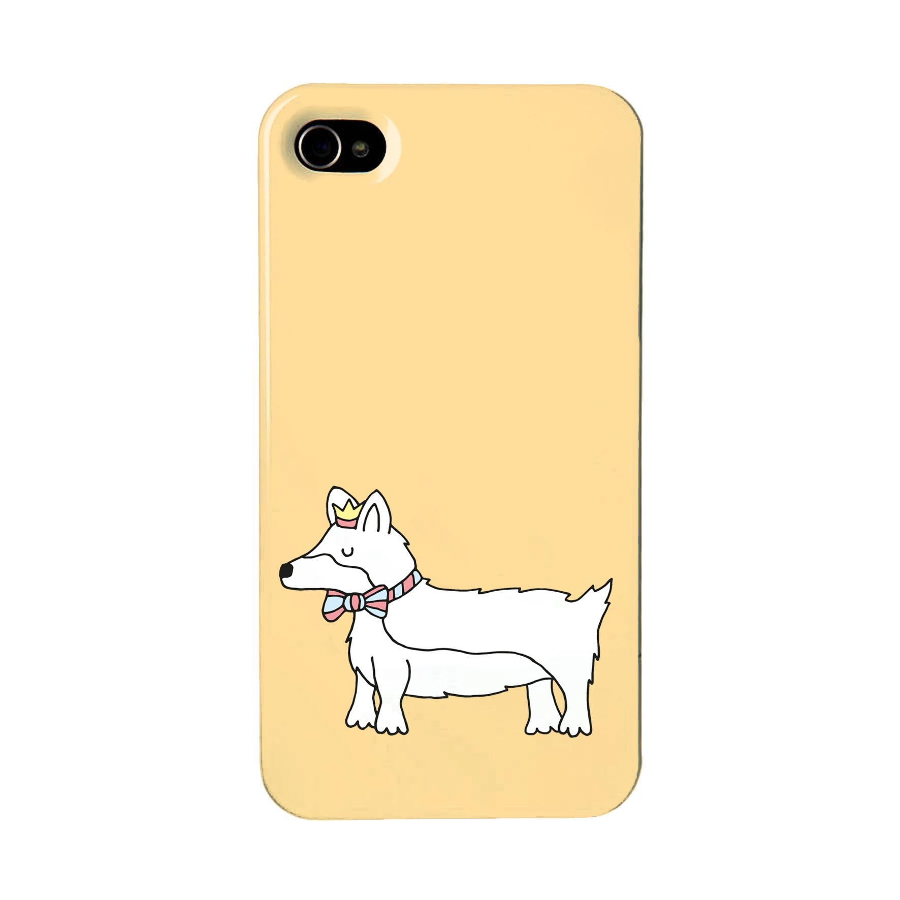 Orange phone case with an illustration of a corgi