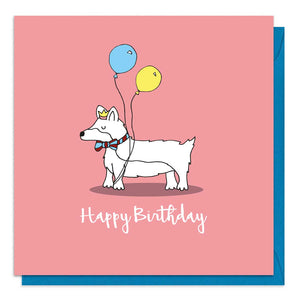 Red birthday card with an illustration of a corgi