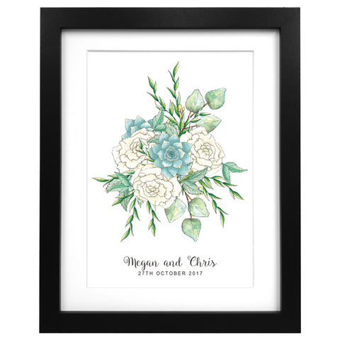 Custom wedding flower bouquet print