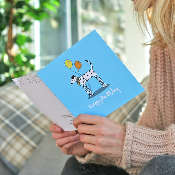 Lifestyle photo of dalmatian birthday card