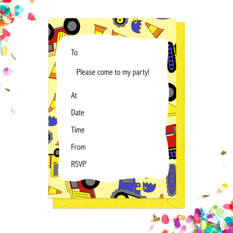 Yellow digger party invitations