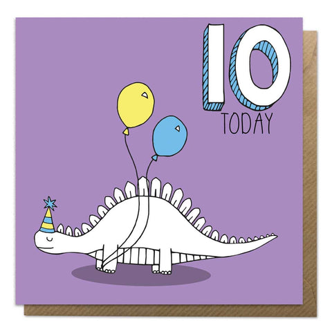 10th Birthday Card - Stegosaurus Dinosaur Card - Neon Magpie