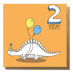 2nd Birthday Card - Stegosaurus Dinosaur Card