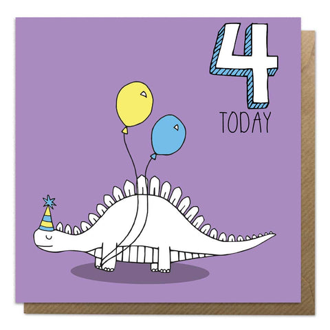 4th Birthday Card - Stegosaurus Dinosaur Card - Neon Magpie