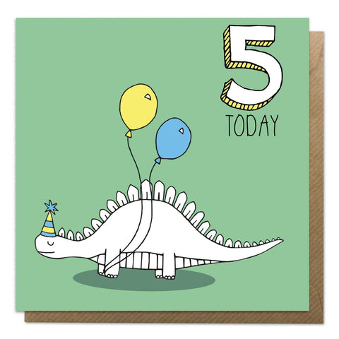5th Birthday Card - Stegosaurus Dinosaur Card - Neon Magpie