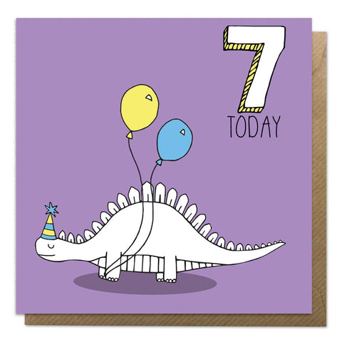 7th Birthday Card - Stegosaurus Dinosaur Card - Neon Magpie