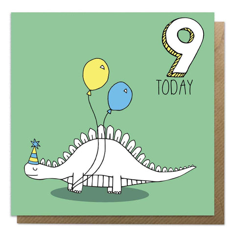 9th Birthday Card - Stegosaurus Dinosaur Card - Neon Magpie