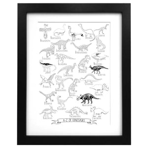 Illustrated A3 dinosaur alphabet art print