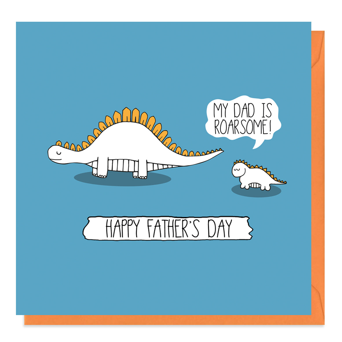 Blue Father's Day Card with a daddy and baby dinosaur