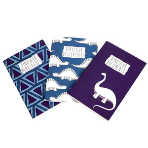 A6 dinosaur notebook set in blue and purple patterns - cute notebooks