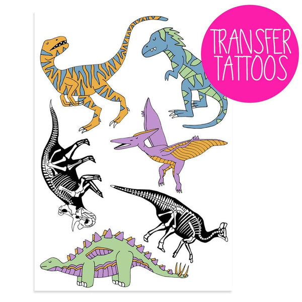 Set of six dinosaur transfer tattoos