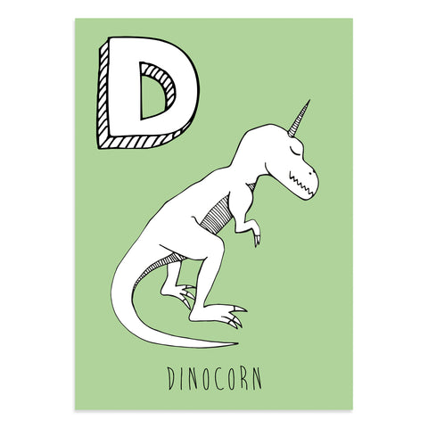 Unicorn postcard featuring D for dinocorn