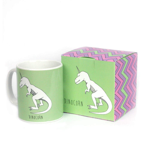 Green unicorn dinosaur mug with dinocorn gift box