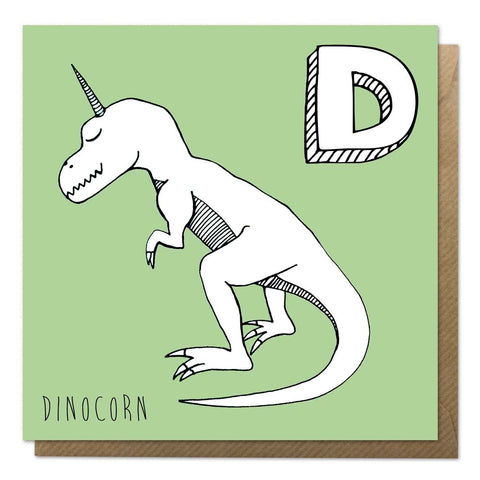 Green unicorn alphabet card featuring a dinosaur unicorn