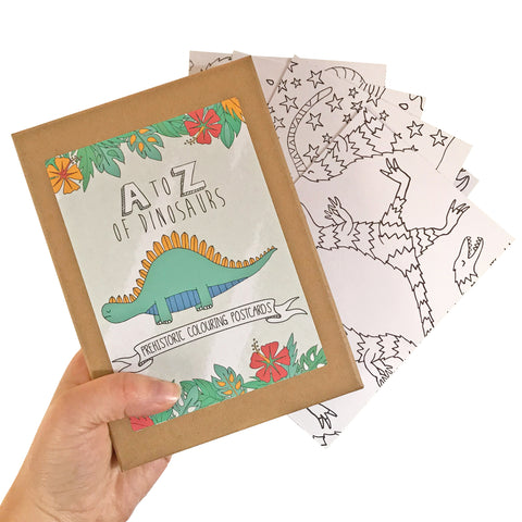 Dinosaur Colouring In Postcard Set