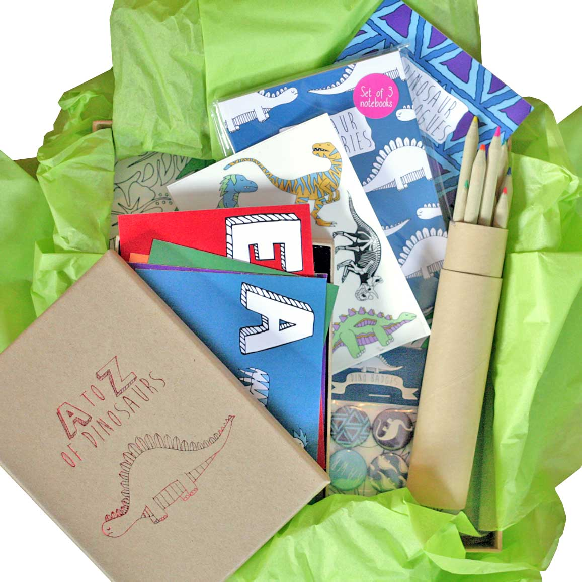 Dinosaur gift box featuring a colouring book, badges and transfer tattoos