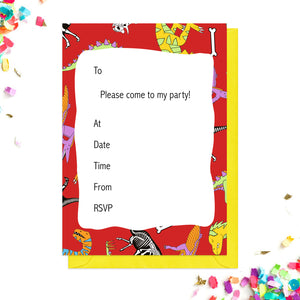 Red dinosaur party invitations