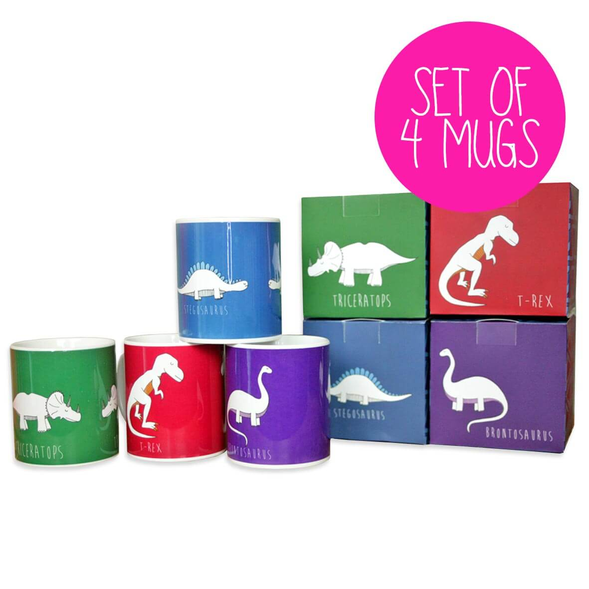 Set of four dinosaur mugs with boxes in red, green, purple and blue