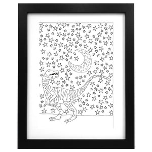 Illustration starry night dinosaur art print - A3 size