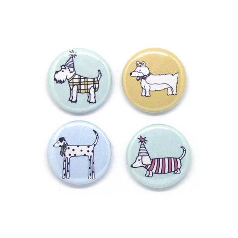 Set of four illustrated dog badges - quirky gift