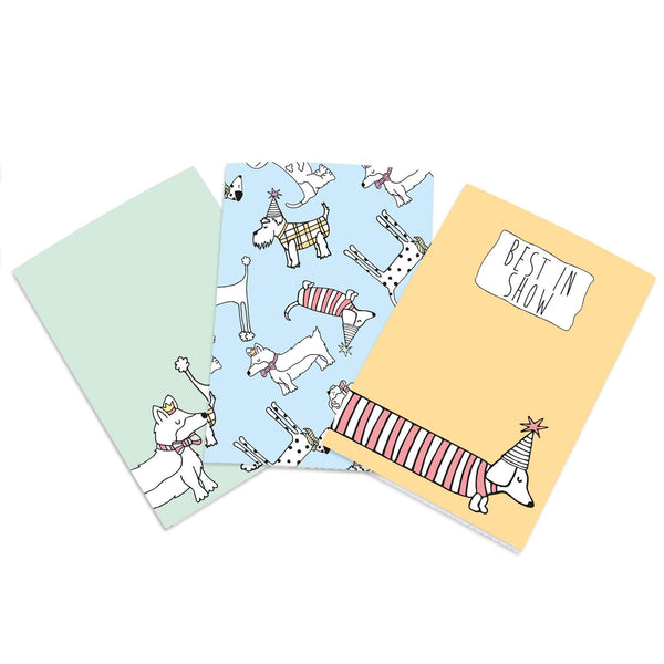 A6 size dog notebook set. Green, blue and orange cute notebooks