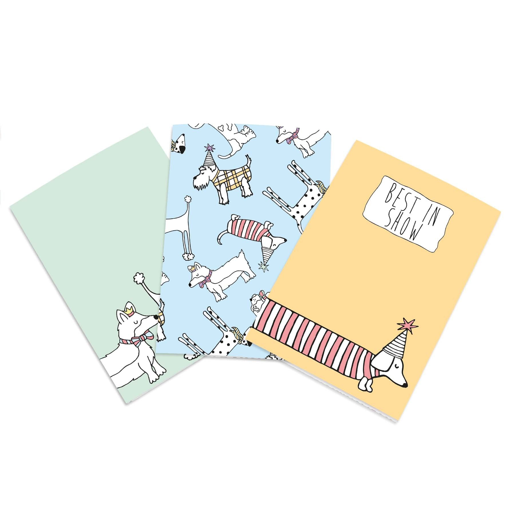 A6 illustrated dog notebook set. Green, blue and orange notebooks
